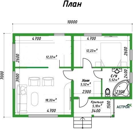 одноэтажный дом под ключ строительство в Иваново